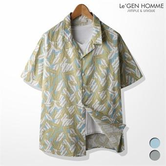 르젠 리프패턴 면마 하와이안 셔츠(LNSH1568SB)