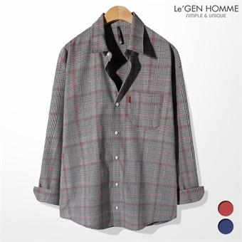 르젠 루즈핏 클렌체크 포인트컬러 셔츠(LNSH1996RM)