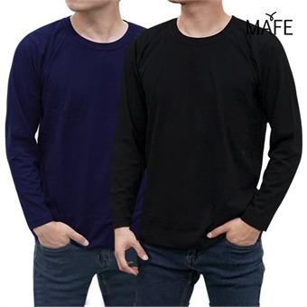메이프 긴팔 베이직 라운드 티셔츠 (블랙/네이비)