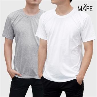 메이프 20수 반팔 베이직 라운드 티셔츠 (화이트/그레이)