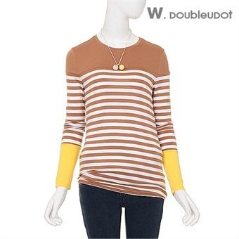 컬러배색 단가라 티셔츠 (WW3AE211)