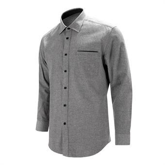 [레디핏] 포켓 포인트 피치 기모 그레이 레귤러 긴팔 셔츠_S8118
