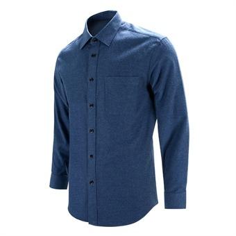 [레디핏] 웜 피치 기모 블루 레귤러 긴팔 셔츠_S8119