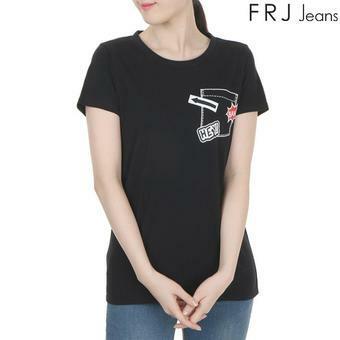 여성 프린팅 포켓 티셔츠 BK (F62F-TM493B)