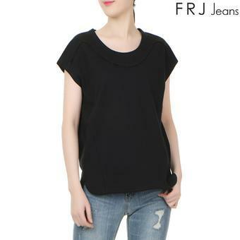 여성 절개 디테일 튜닉 티셔츠 BK (F62F-TM673B)