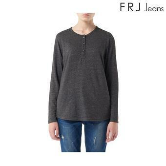 여성 단작 배색 헨리넥 티셔츠 (F63F-TS527A)