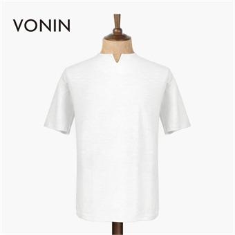 보닌 슬라브 코튼 절개반팔 티셔츠 SOFN015WH