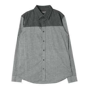 남성 가슴 배색 체크 셔츠 GR (F64M-SH029A)