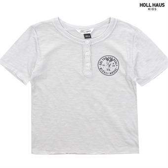 빈티지 헨리넥 라운드 티셔츠 IA2TSU037GR