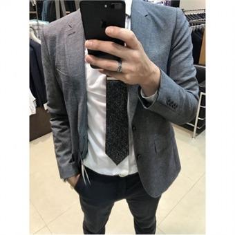 [TNGT] W몰 네이비 면 체크 자켓 TGJA7A183 N2