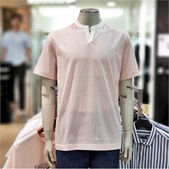 [지오지아] W몰 면폴리 스트라이프 헨리넥 반팔 티셔츠 ABY2TR1135 WN