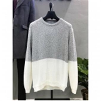 [STCO]디엠스 W몰 그레이 트위드 블럭 라운드 니트 DKTPA06CMG