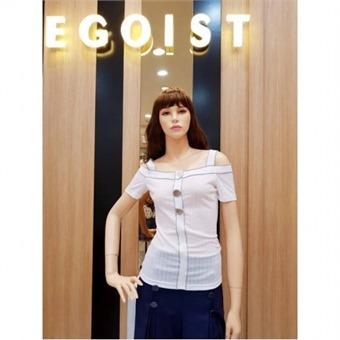 [에고이스트] W몰 장식단추 오프숄더 티셔츠 EJ2CH662