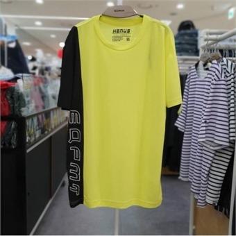[에드윈] W몰 남녀공용 세로 블록 배색 로고 포인트 라운드 티셔츠/HTE583