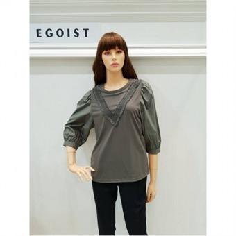 [에고이스트] W몰 셔츠형 퍼프 소매 티셔츠 EG3ET810
