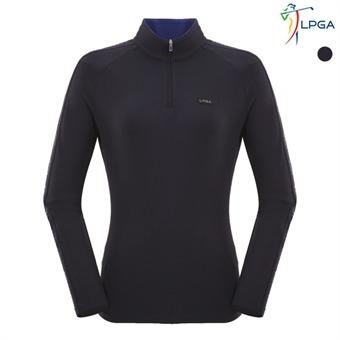 여P)소매 로고 배색 하이넥 티셔츠(L163TS513P)