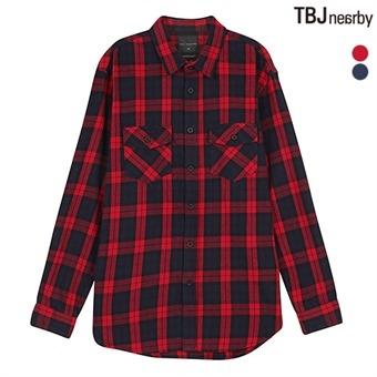 남성 셔켓형 레터링프린트 체크 셔츠 (T174SH450P)