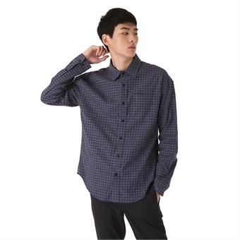 남성)세미오버)기본카라 체크 자수레터링 셔츠(O183SH190P)