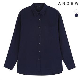 여성)기본카라 R 뒷오픈 셔츠(O183SH510P)