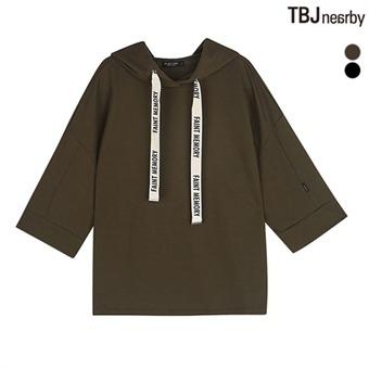 여성 미니쭈리 스트링 레터링 7부 후드티셔츠(T183TS660P)
