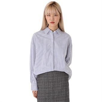 여성)기본카라 스트라이프 소매셔링 셔츠(O183SH620P)