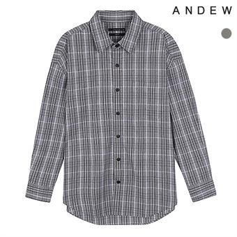 남성)오버)기본카라 면 체크 셔츠(O183SH260P)