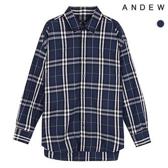 남성)뉴오버)기본카라 면 네이비 체크 셔츠(O183SH410P)