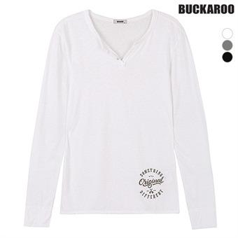 여성 싸이로 SLUB 변형 헨리넥 티셔츠(B183TS610P)
