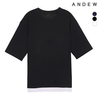 유니 오버핏 밑단레이어드 5부 티셔츠(O182TS001P)