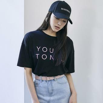 여성)라운드 PC 프린트 반팔 티셔츠 (O182TS600P)