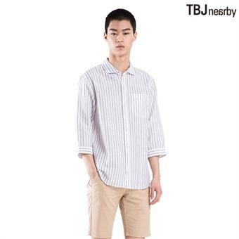 남성 7부 코튼린넨 기본카라 기본핏 스트라이프 셔츠(T182SH201P)