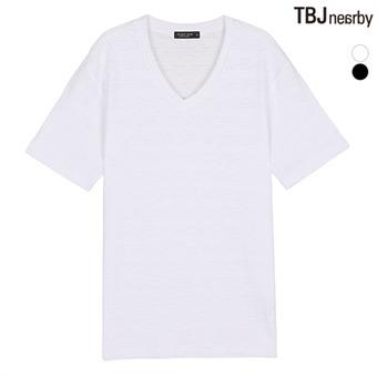 유니 슬럽변형 브이넥 티셔츠(T182TS161P)