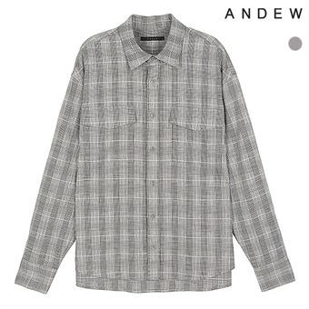 남성)기본카라 세미오버핏 글렌체크 아웃포켓 셔츠(O182SH470P)