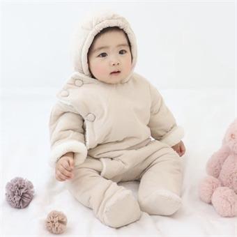 라미 방한 우주복 아기 겨울 외출복