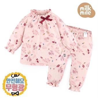 [밀크마일] 무형광 핑크플라워실내상하복