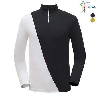 남P 스윙라인 절개배색 반짚업 티셔츠(L191TL106P)