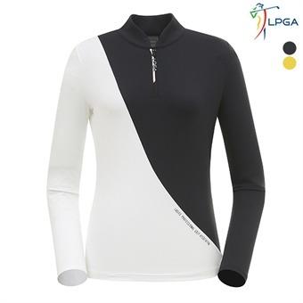 여P 스윙라인 배색 반짚업 티셔츠(L191TL510P)