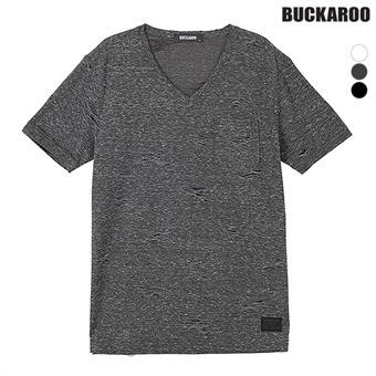 남성 10수 데미지 V넥 티셔츠(B192Z4045P)