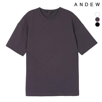 남성 폴리 와플 변형 반팔 티셔츠(O192Z2300P)