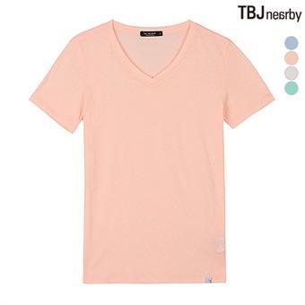 여성 브이넥 무지 티셔츠(T192TS980P)