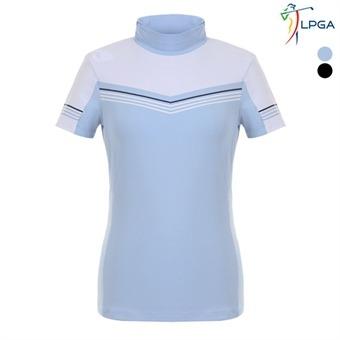 여P STRIPE 배색포인트 반짚업 티셔츠(L192TS529P)
