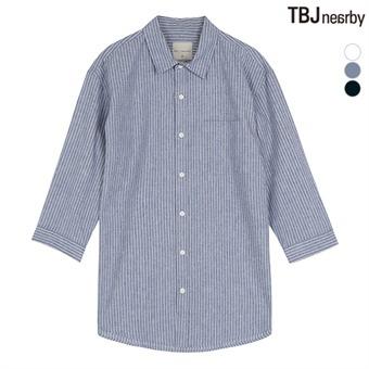 남성 7부 코튼린넨 루즈핏 스트라이프 셔츠(T192SH201P)