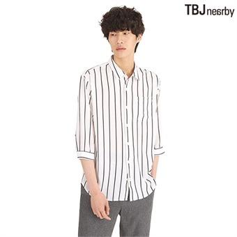 남성 7부 폴리 루즈핏 스트라이프 셔츠(T192SH230P)