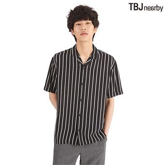 남성 5부 폴리 루즈핏 스트라이프 셔츠(T192SH331P)