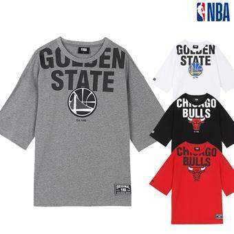 NBA팀로고 고주파프린트 오버핏 티셔츠(N192Z9020P)