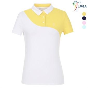 여P 곡선절개배색 제에리 티셔츠(L192TS528P)