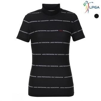여P LPGA로고패턴 하이넥 티셔츠(L192TS522P)