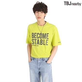 유니 루즈핏 레터링 티셔츠(T192TS005P)