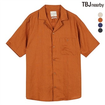 남성 5부 프렌치린넨 루즈핏 솔리드 셔츠(T192SH300P)