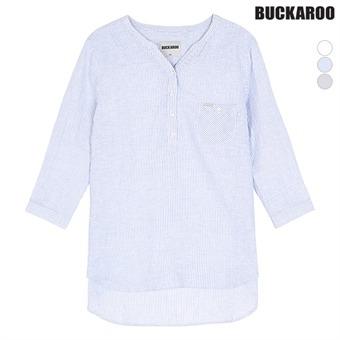 여성 린넨코튼 칠부소매 헨리넥 셔츠(B192Z5550P)